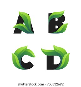 Set of letters icons with green leaves: A, B, C, D. Vector eco design.