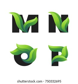 Set of letters icons with green leaves: M, N, O, P. Vector eco design.