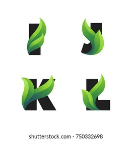 Set of letters icons with green leaves: I, J, K, L. Vector eco design.