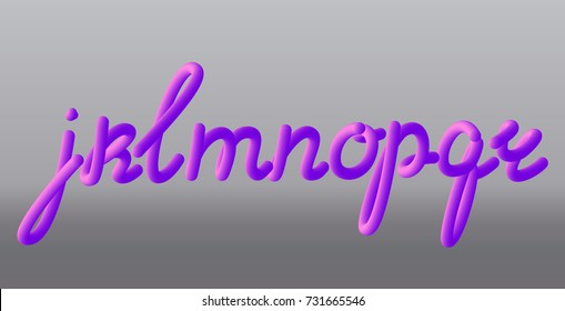 Set with letters j, k, l, m, n, o, p, q, r. Glossy pink paint letters. 3D render of bubble font with glint. Typography vector illustration.
