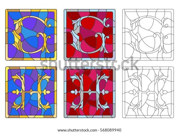 """The set of letters of the Latin alphabet in the stained glass style of letters """"G""""  and """"H"""""""