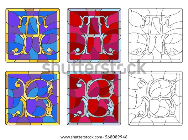 """The set of letters of the Latin alphabet in the stained glass style of letters """"A""""  and """"B"""""""