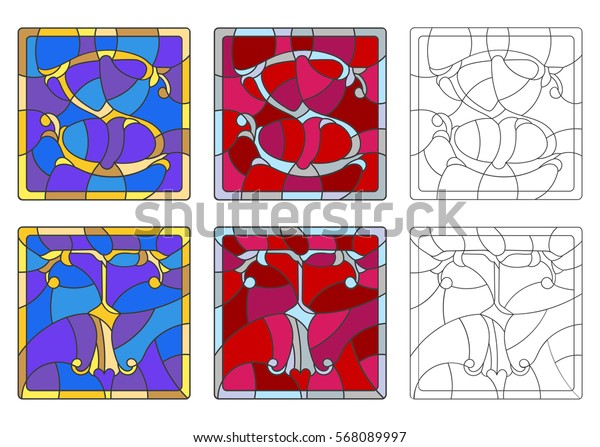 """The set of letters of the Latin alphabet in the stained glass style of letters """"S""""  and """"T"""""""