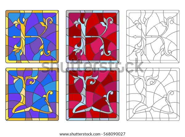 """The set of letters of the Latin alphabet in the stained glass style of letters """"K""""  and """"L"""""""