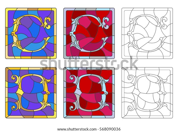 """The set of letters of the Latin alphabet in the stained glass style of letters """"C""""  and """"D"""""""