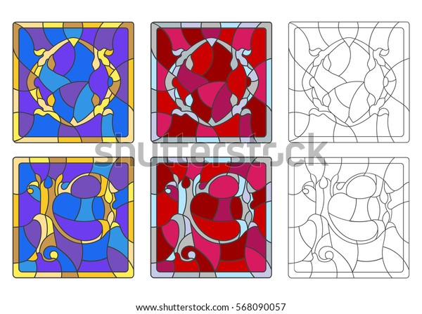 """The set of letters of the Latin alphabet in the stained glass style of letters """"O""""  and """"P"""""""