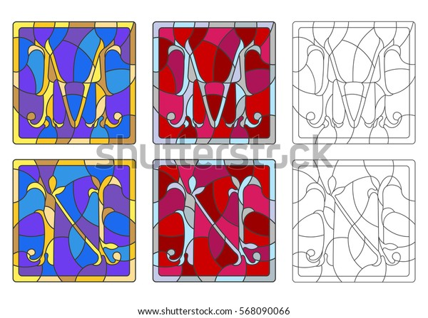 """The set of letters of the Latin alphabet in the stained glass style of letters """"M""""  and """"N"""""""