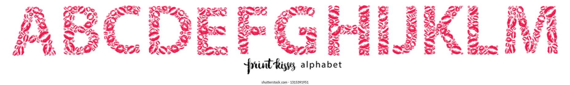 Set of letters from A to M, made from print kisses, part of a complete alphabet collection for your writing or design