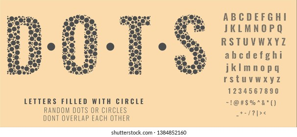 Set of letters made of dots or filled with circles. Creative fonts with capital, small letters, numbers and symbols. Vector illustration.