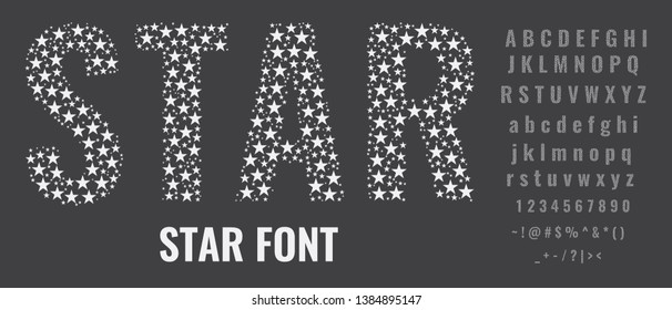 Set of letters made of stars. Creative fonts with capital, small letters, numbers and symbols. Flat vector illustration.
