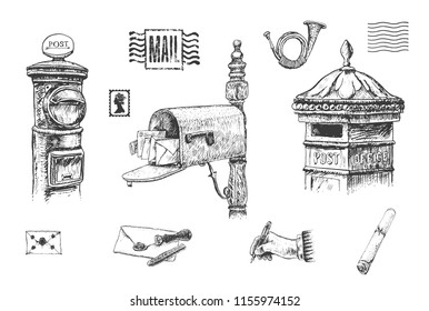 Set of letters, mail boxes, postal letterbox. Letter with sealing wax, postage stamps. The writing hand and post horn. Hand drawn vector vintage illustration
