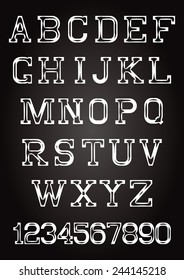 set of letters and numbers in grungy style on texture