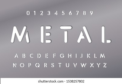 Set of letters and numbers in metal plate. Metallic material style of alphabet. Steel plate with font. Typography design. Vector graphic.