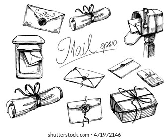 A set of letters, parcels, mail boxes. Sketch illustration. Isolated vector.
