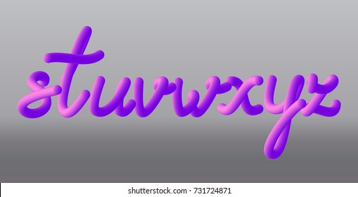 Set with letters s, t, u, v, w, x, y, z. Glossy pink paint letters. 3D render of bubble font with glint. Vector illustration.
