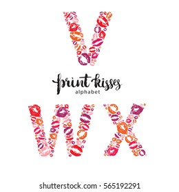 Set of letters V, W and X made from print kisses, part of a complete alphabet collection for your writing or design