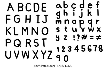 Set of letters.Hand drawn alphabet.English font and number.