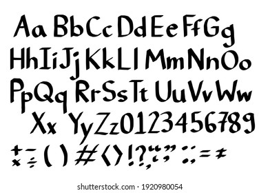 Set of letters.Hand drawn alphabet.English font and number.Sign from marker pen or brush.