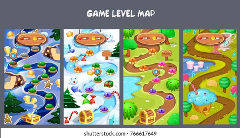 Set of Level Maps Assets.Forest World Mobile Game User interface. GUI map screen. Forest , winter, summer, sweet maps. Forest game elements. Night holiday's map.Vector gui. Game map for casual game.