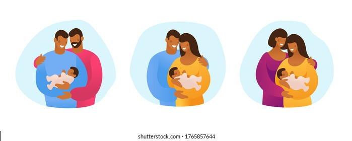 A set of LGBT couples and couples with children, gays, lesbians, a traditional pregnant couple. Relations and rights of homosexual partners. Vector illustration in a flat cartoon style