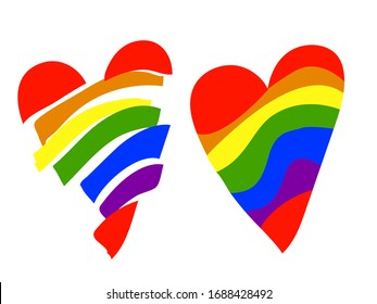 Set of LGBT hearts broken and whole as an element of decor and decoration design . Heart in rainbow colors.Vector stock.