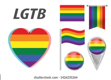 Set of LGBT related symbols in rainbow colors. Pride, freedom flags, heart, pointer, button, waving and hanging flag. LGBT collection of symbols, icons and logos with rainbow. Vector illustration. EPS