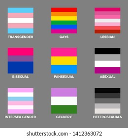 Set of LGBTQ Pride Flags. Gays, lesbians, asexuals, transsexuals, hermaphrodites, transgender people. Official symbols of the community. Against discrimination