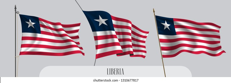 Set of Liberia waving flag on isolated background vector illustration. 3 red white Liberian wavy realistic flag as a patriotic symbol