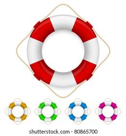 Set of life buoys. Illustration on white background