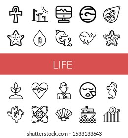 Set of life icons. Such as Ankh, Starfish, Plant tree, Blood type, Heart rate, Dolphin, Neptune, Whale, Blood cells, Sprout, Coral, Atom, Lifeguard, Shell, Sleeping , life icons