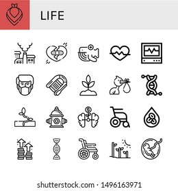 Set of life icons such as Kerchief, Pollution, Broken heart, Whale, Heart rate, Icu, Lifeboat, Sprout, Stork, Genetics, Fire hydrant, Growth, Wheelchair, Erythrocytes, Dna , life