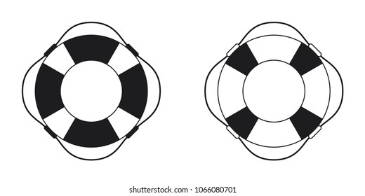 Set of lifebuoy icon black and white on white background