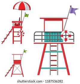 A set of lifeguard chairs illustration