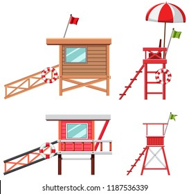 Set of lifeguard house and chair illustration