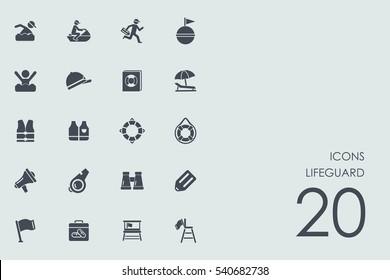 Set of lifeguard icons