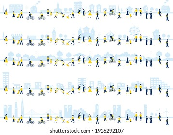set of lifestyle people and city illustration - Shutterstock ID 1916292107