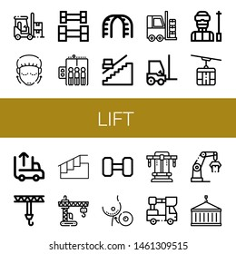 Set of lift icons such as Forklift, Lifting, Weightlifting, Elevator, Stairs, Stair, Ski, Cable car, Unloading, Crane, Breast implant, Bench press, Lifter , lift