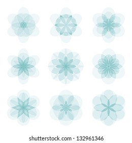 Set of light blue translucent abstract flowers. Vector illustration.