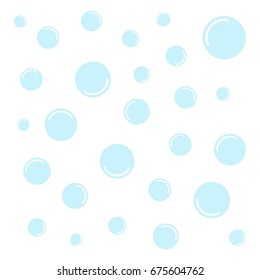 Set of light blue water bubbles, vector illustration doodle drawing. Blue bubbles isolated on white background.