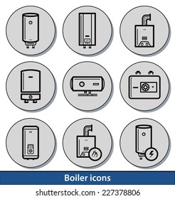 Set of light boiler icons with reflection line and thin lines