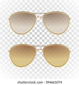 b96ae994c Set - light brown color aviator sunglasses with gold frame. Sun glasses  with transparent gradient