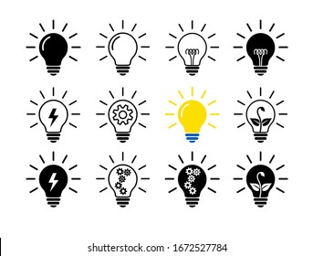 Set Of Light Bulb Flat Icons, Linear And Black. Collection Of Lighting Electric Lamps. Simple Pictograms, 12 Items. Vector Graphic Design Elements. Creative Idea Sign, Solution, Innovation Concept.