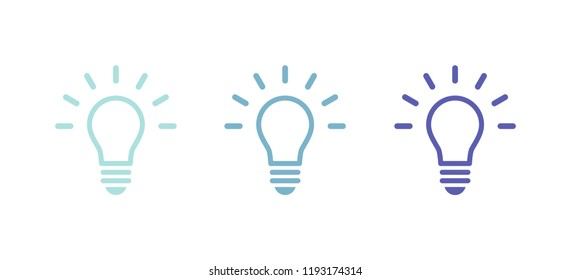 Set: Light bulb icon. Cool colors. Vector illustration, flat design