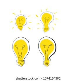 Set of light bulb icon. Handmade style. Idea concept. Vector illustration.