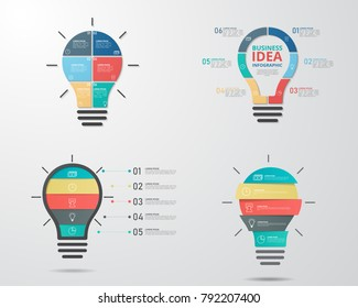 Set of light bulb infographics template for business, education, web design, banners, brochures, flyers. Vector illustration.