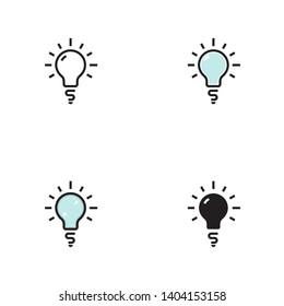 Set of light bulb, lamp icon. Editable stroke.