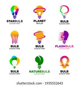 set of Light bulb logo. Creative logo. Creative ideas concept. Idea icon. Power, energy, electricity, Idea bulb sign. Brainstorm icon. Creation elements. Think idea concept. Design inspiration