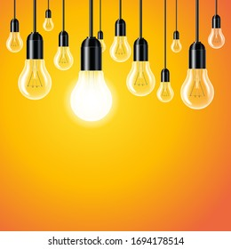 Set of light bulb on yellow background. Concept of new ideas.