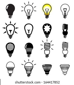 Set of light bulbs icons. Vector illustration.