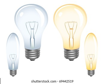 Set of light bulbs on white. Vector illustration.